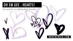 "Free Photoshop Brushes #28 – ""OH EM GEE. Hearts."""