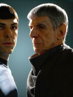 Spock and Spock. It's kind of unfortunate that Spock will end up looking like his father, because his father's really creepy.