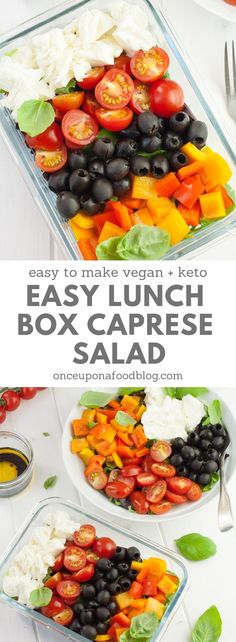 This Easy Lunch Box Caprese Salad is a fantastically simple no-cook lunch box salad that is full of the good stuff, contains no nasties at all and is interesting enough to keep you making it week after week. #lunchboxsalad #lowcarblunch #lowcarbsalad #masonjarsalad #worklunch #easyworklunch #quickworklunch #healthyworklunch #cleaneating #healthylunch #paleolunch #ketolunch #onceuponafoodblog