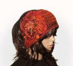 Burnt orange crochet headband - by renatekirkpatrick