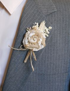 Burlap & Sola Flower Boutonniere Groom and Groomsmen by PapernLace