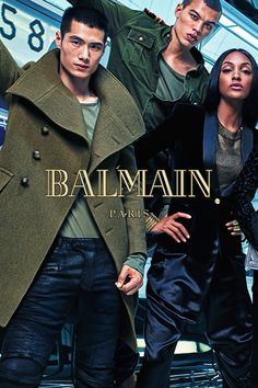 Models Hao Yun Xiang, Dudley O'Shaughnessy and Jourdan Dunn in pieces that combine military elements with french couture. Photo by Mario Sorrenti. #HMBALMAINATION   Balmain x H&M