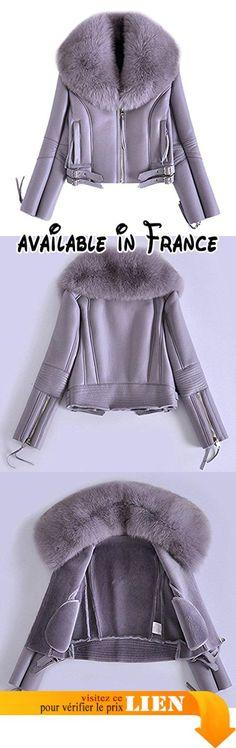 B075V63DQ7 : Femme Synthétique Cuir Double Face Veste avec Vraie Fourrure de Renard Col Longue Manche FR40 (Gris) - Fur Story.