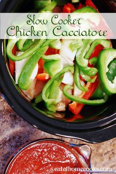 slow cooker chicken cacciatore - love this recipe.  This is one of those recipes that you can see on Pinterest, walk into the kitchen, find everything you need, and have it in the crockpot within 10 minutes.  Of course, I did make a change - in the interests of both time and money, I subbed a bag of frozen pepper strips for the red and green bell peppers.  Otherwise, this dinner is a go!