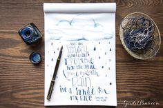 So cool! Handlettering and doodling using a Monteverde Limonada Milano Black and Platinum Blue-Black ink.