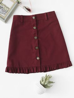 Shop Frill Hem Single Breasted Skirt at ROMWE, discover more fashion styles online. Kpop Fashion Outfits, Girl Fashion, Fashion Dresses, Cute Outfits For Kids, Pretty Outfits, Dresses Kids Girl, Cute Dresses, Skirt Outfits, Clothes