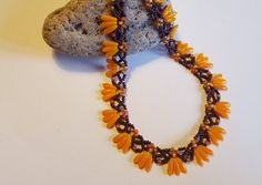 Orange Necklace,Swarovski beads,necklace,gift for wife,gift for Mom,Valentine gift,birthday gift,gift for Easter,elegant necklace,brown,