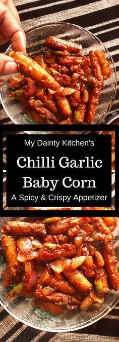 Chilli garlic baby corn is a dilicious Indo-Chinese side dish and an excellent starter in the menu. How to make Chilli garlic baby corn. Healthy Chinese Recipes, Indo Chinese Recipes, Indian Food Recipes, Vegetarian Recipes, Chinese Food, Vegetarian Appetisers, Chinese Side Dishes, Appetizer Recipes, Snack Recipes
