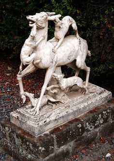 Deer Sculpture    One of the two scultpures of a deer being attacked by dogs in the garden of the Casa dei Cervi in Herculaneum.    The Casa dei Cervi (House of the Deer or House of the Stags) is the grandest of the mansions so far excavated in Herculaneum. Its two storeys contain numerous frescoes and used to look out over the sea front.
