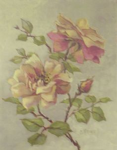 by Christie Repasy. if you are interested, how this was painted, see the board christie repasy at kleinroses Romantic Artwork, Beautiful Paintings, China Painting, Fabric Painting, Floral Artwork, Silk Art, Romantic Roses, Watercolor Flowers, Beautiful Flowers