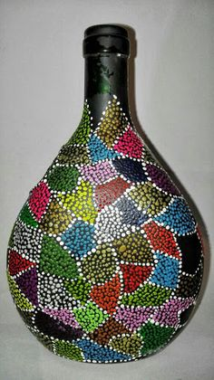 Discover thousands of images about Handmade Flower vase, Silver color vase, Wine bottle vase, altered bottle vase, Home decor Wine Bottle Vases, Glass Bottle Crafts, Diy Bottle, Dot Art Painting, Pottery Painting, Painted Glass Bottles, Bottle Painting, Jar Crafts, Artisanal