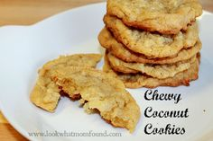 This simple but delicious chewy coconut cookies #recipe can put cookies on your table in just over and hour. Yummy sweet coconut is the star in this buttery treat
