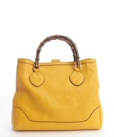 Gucci mustard leather 'Diana' bamboo handle tote bag