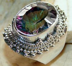 | Mystic Quart : Mystic Quartz Gemstone Silver Ring , Mystic Quartz Ring collection Wholesale |