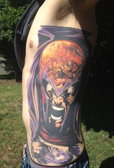 This is Redditor KevvCo's new Magneto side piece. It was inked by Jose Camarillo at All Hope Aside Tattoo in Federal Way, Washington and is a reproduction of Mike Deodato Jr.'s cover art from the New Avengers Vol 1, #20.