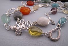 Colorful Faceted Gemstone Sterling Silver by sundownbeaddesigns, $155.00