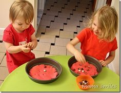 Sensory play: Play dough and marbles