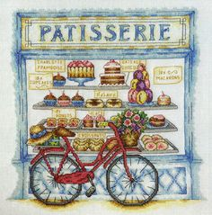 Patisserie shop window and bicycle cross stitch design