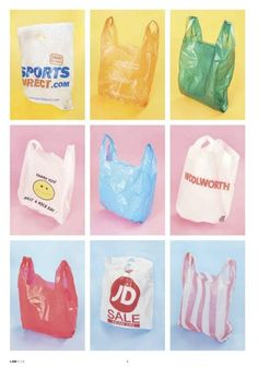 This typology shows how many different styles plastic bags there are, you could also use different plastic bags from the same shop but through different times before they were redesigned. Vaporwave, Still Life Photography, Art Photography, Kitsch, Art Direction, Packaging Design, Product Packaging, Design Art, Graphic Design