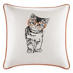 Meow-ke yourself comfortable in your living room with the HipStyle Cat Pillow from Madison Park. Showing off an embroidered kitten wearing cute hipster glasses, this cotton pillow is a delightful accent for your home décor.