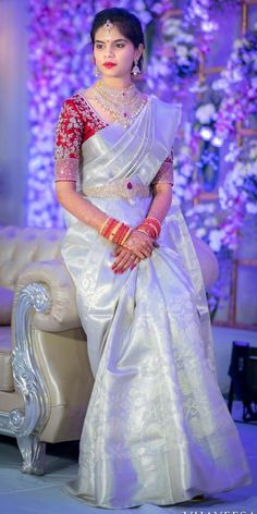 Discover thousands of images about mugdhaartstudio Wedding Saree Blouse Designs, Half Saree Designs, Pattu Saree Blouse Designs, Fancy Blouse Designs, Bridal Silk Saree, Saree Wedding, Indian Bridal Outfits, Saree Models, Look Chic