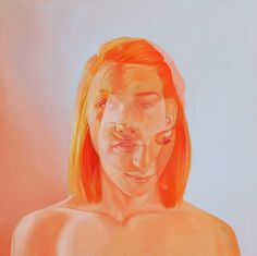 jen mann double exposure portrait painting orange