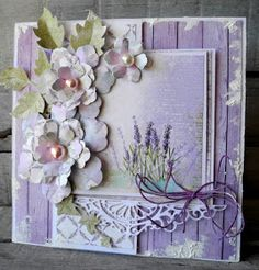 Hi every one !   Today it's my turn to show you a card.    I made a card from the great sweet paper Lavender garden 6x6 and the green of th...