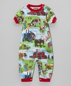 Take a look at this Blue On This Farm Romper - Infant on zulily today!