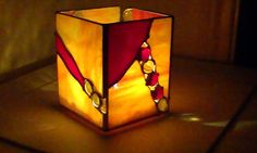 Stained Glass Candle Holder Sunburst great gift por DianeMarieArt
