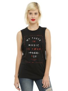 Twenty One Pilots Music Face Girls Muscle Top, BLACK