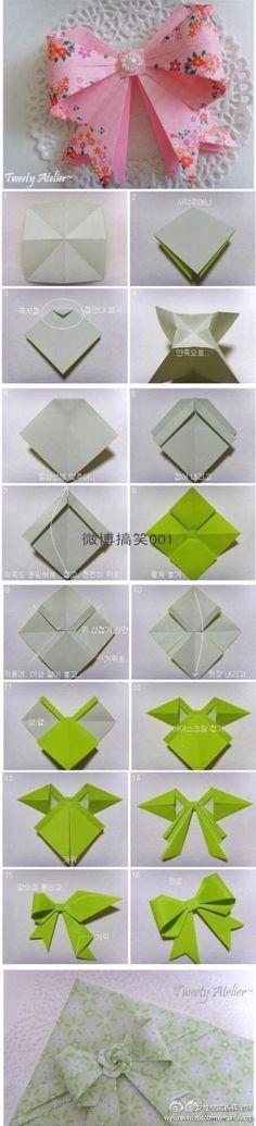 Origami Bow, Nice tutorial will take practice. I wish i liked origami. Origami Bow, Origami Paper, Diy Paper, Paper Crafting, Paper Art, Paper Bows, Paper Ribbon, Oragami, Diy Ribbon