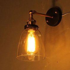 InTheHouse Antique Applique Murale Feu Lampe de Mur Edison Style Verre Clair Forme Cloche: Amazon.fr: Luminaires et Eclairage