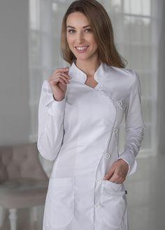 Spa Uniform, Scrubs Uniform, Dental Scrubs, Medical Scrubs, Dr Coats, Womens Scrubs, Blouse Patterns, Work Wear, Beautiful Dresses