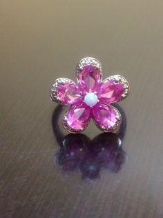Sterling Silver Opal Pink Topaz Diamond by DeKaraDesigns on Etsy