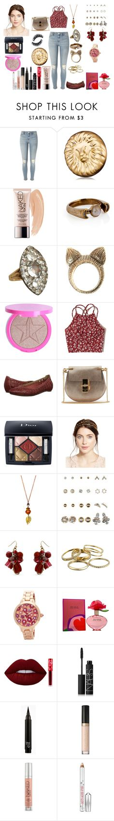 """""""Untitled #594"""" by asiebenthaler ❤ liked on Polyvore featuring River Island, Estée Lauder, Urban Decay, Pamela Love, Olivia Collings Antique Jewelry, Hollister Co., Pikolinos, Chloé, Christian Dior and Jennifer Behr"""