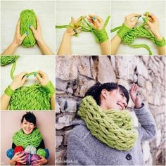 DIY Infinity Scarf Arm Knitting Tutorial-- YES, now take that and put it on the edge of a picture frame or quilt Finger Knitting, Loom Knitting, Hand Knitting, Knitting Patterns, Knitting Needles, Scarf Patterns, Crochet Needles, Arm Knitting Tutorial, Knitting Tutorials