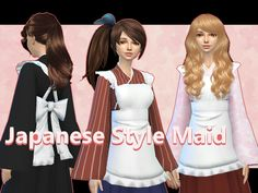 Japanese Style Maid uniform for female in 3 patterns  Found in TSR Category 'Sims 4 Female Everyday'