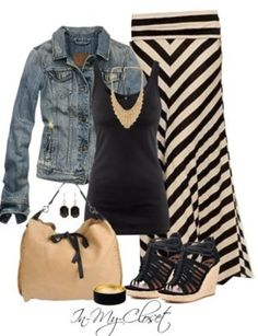 Chevron maxi skirt, black tee, denim jacket, camel & black (strappy) wedges, camel bag, chunky tan necklace, black bangle