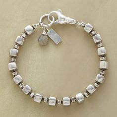 """CUBIST GARDEN BRACELET--Flower-stamped beads flourish between cubes likewise handcrafted of sterling silver. A labradorite dangles at the lobster clasp. Exclusive. Made in USA. Approx. 7-1/4""""L."""