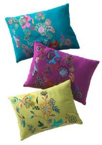 Cushion cover with floral embroidery~Furnishings~Fair trade by Namaste & Folio Gothic Hippy~~CC