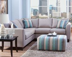 Light Gray-Blue Two Piece Couch | Urban Safari 2 PC Sectional Sofa | American Freight