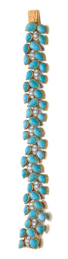 CARTIER PLATINUM CABOCHON TURQUOISE & DIAMOND VINE BRACELET | c.1962| French| L:approx.180mm| platinum, 18k yel gold, 48 light blue colour turquoise drops, approx.3.5-4.0 tcw brilliant-cut diamonds (F-H colour, VVS-VS clarity)| Signed Cartier Paris, Cartier maker's mark, numbered 010202|Gross weight approx.52 grams| case stamped Cartier| Lot 285 | Sold:51,771 USD, 13 Nov 2013, Sotheby's Geneva |