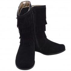 L'Amour Black Faux Suede Fringe Zipper Fashion Boot Girl 11-2 - L'amour Girl's Shoes - Girls Designer Shoe Brands - Girls Shoes