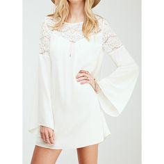 White Vintage Chiffon Round Neck Long Sleeve Shift Short Lace Plain Fall Dresses, Sleeve Length: Long Sleeve Style: Vintage Decoration: Lace Shoulder(cm): S:35…