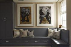 Martha O'Hara Interiors - laundry/mud rooms - Benjamin Moore - Steel Wool - gray built-ins, gray cabinetry, gray cabinets, gray mudroom cabi...