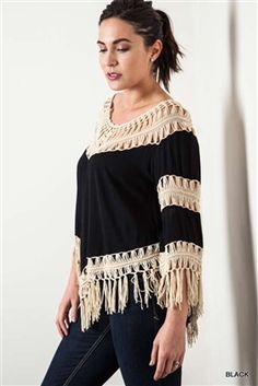 UMGEE Black Plus Size Crochet Knit Frayed Top This enticing Bohemian Western style 3/4 sleeve top features a crochet detail neckline and tiered sleeves connected with a loose-knit crochet pattern and lots of fringe.