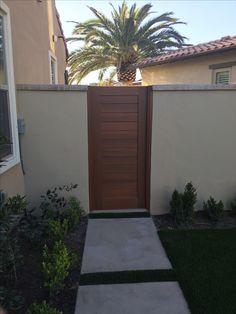 Custom Wood Gate by Garden Passages - Narrow Modern Gate with Horizontal Body House Fence Design, Front Gates, Custom Wood, Fences, Curb Appeal, Diy Projects, Backyard, Doors, Building