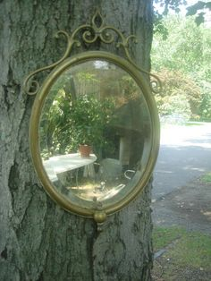 antique solid  brass ornate oval mirror/ beveled glass old
