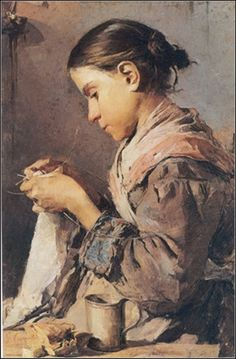 young girl knitting. I love her expression of earnest concentration