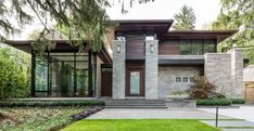 55 Awesome Home Exterior Design Ideas. You can fix your home exterior design even if you do not have much money. In this article I am going to talk about the ways to improve your home exterior design. Exterior House Siding, Facade House, House Doors, House Exteriors, Facade Lighting, Exterior Lighting, Lighting Design, Modern House Plans, Modern House Design